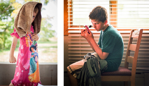 Left: A child shows off his favorite nightgown. Right: Throughout the weekend make-up is applied, removed and reapplied and wardrobe change is constant.